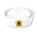 White Sailor Hat w/ Custom Shaped Heat Transfer