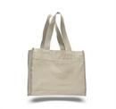 Custom Canvas Gusset Tote Bag w/ Color Handles, 14