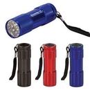 Custom 9 LED Flashlight w/Keychain, 3.375