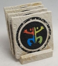 Custom 4-Pc Square Limestone-Texture Coaster Set w/Base (UV Print), 4