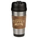 Custom 16 oz. Stainless Steel Travel Mug Rustic/Gold Laserable Leatherette, 3 3/8