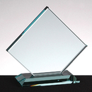 Custom Clipped Square Award w/ Base - Jade Glass (5 3/4