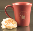 Custom 12 Oz. Carved Ceramic Rose Pink Flair Mug, 4 1/2