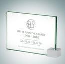 Custom Achievement Jade Glass Award Plaque w/ Chrome Rectangle - 5
