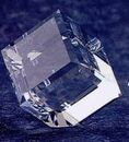 Custom Crystal Standing Cube Paper Weight (1-3/16