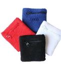 Custom Cotton Wristbands With Zipper Pocket, 3 1/7