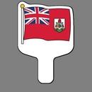 Custom Hand Held Fan W/ Full Color Flag of Bermuda, 7 1/2