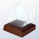 Custom 4-Piece Glass Octagon Coaster Set with Walnut Base, 4 3/4