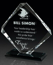 Custom Clear Glass Award w/ Black Glass Base, 6 1/4
