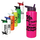 Custom 32 oz. Sports Bottle with Straw Cap Lid, 9 9/16