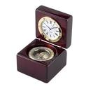 Custom Square Wood Box w/ Clock & Compass, 2.75
