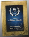 Custom Gold and Blue Acrylic Art Plaque Award With Iron Stand, 9 1/2