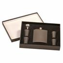 Custom 6oz Stainless Steel Flask Set - Black(screened)