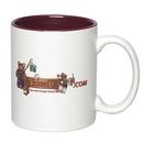 Custom 11 Oz. Full Color Sublimated 2 Tone Ceramic Mug, 3 3/4