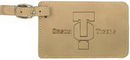 Custom Light Brown Leatherette Luggage Tag, 4 1/4