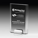 Custom Rectangular Laser Engraved Beveled Award w/ Chrome Base (5