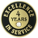 Custom Excellence In Service Pin - 4 Years, 3/4