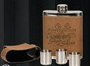 Custom Leather Covered 7 Oz. Flask Gift Set W/ Lid Cover & 3 Shot Glasses