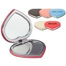 Custom Pu Leather Heart Compact Mirror, 2 3/4