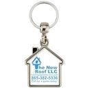 Custom Metal Key Tag, House Shape with House Shaped Printed Image on 2 Sides, 1.50