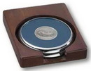 Custom Solid Walnut Wood Desk Set with Set of 2 Round Solid Chrome Coasters