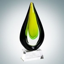 Custom Art Glass Goldfinch Award with Clear Base (L), 13 1/2