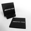 Custom 2 Pc Square Carbon Fiber-Texture Accent Coaster Set, 4