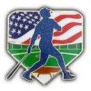 Custom Baseball Patriotic Pin, 1 3/4