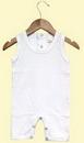 Custom The Laughing Giraffe® Baby White Sleeveless Romper w/Back Snap
