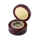 Custom Round Wood Box w/ Compass & Engraved Plate, 5