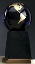 Custom Cobalt Blue Glass World Globe Award w/ Base (5