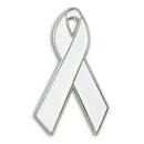 Blank White Awareness Ribbon Lapel Pin, 1