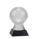 Custom Glass Soccer Ball Award w/ Marble Base (6 1/4