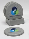 Custom 4-Pc Round Shale-Texture Coaster Set w/Base (UV Print), 4