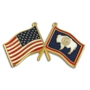 Custom Wyoming & Usa Crossed Flag Pin, 1 1/8