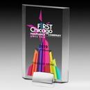 Rectangular Screen Printed Beveled Award w/ Chrome Base (5