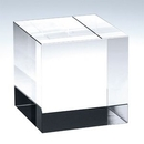 Custom Small - Straight Crystal Cube Award/Paperweight, 2
