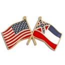 Custom Mississippi & Usa Crossed Flag Pin, 1 1/8