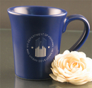 Custom 12 Oz. Carved Ceramic Blue Flair Mug, 4 1/2
