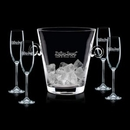 Custom Italia Crystalline Champagne Bucket W/ 4 Flutes