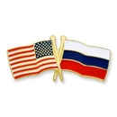 Custom Usa & Russia Flag Pin, 1 1/8