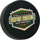 Custom Official Black Rubber Hockey Puck With Full Color Decal, 3
