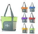 Custom Two-tone Polyester Zippered Tote Bag, 16.5