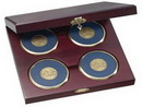 Custom Cherry Wood Presentation Cases with 4 Round Solid Brass Coasters