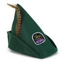 Dark Green Felt Robin Hood Hat w/ Feather w/ a Custom Printed Faux Leather Icon