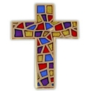Custom Stained Glass Cross Lapel Pin, 3/4