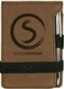 Custom Leatherette Notepad W/Pen. Band Closure