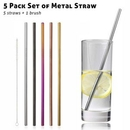 Custom 5 Pack Metal Straws Set with Brush, 10.5 Inch Length, 0.25 Inch Diameter, 266*6 MM, 1.57