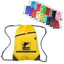 Custom Polyester Drawstring Bag with Front Zipper Pocket, 13' L x 18