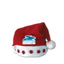 Light-Up Red Santa Hat w/ White Trim & Red Snowflake Lights w/ Custom Shaped Heat Transfer